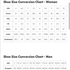 Other - US to Italy conversions charts 🔥